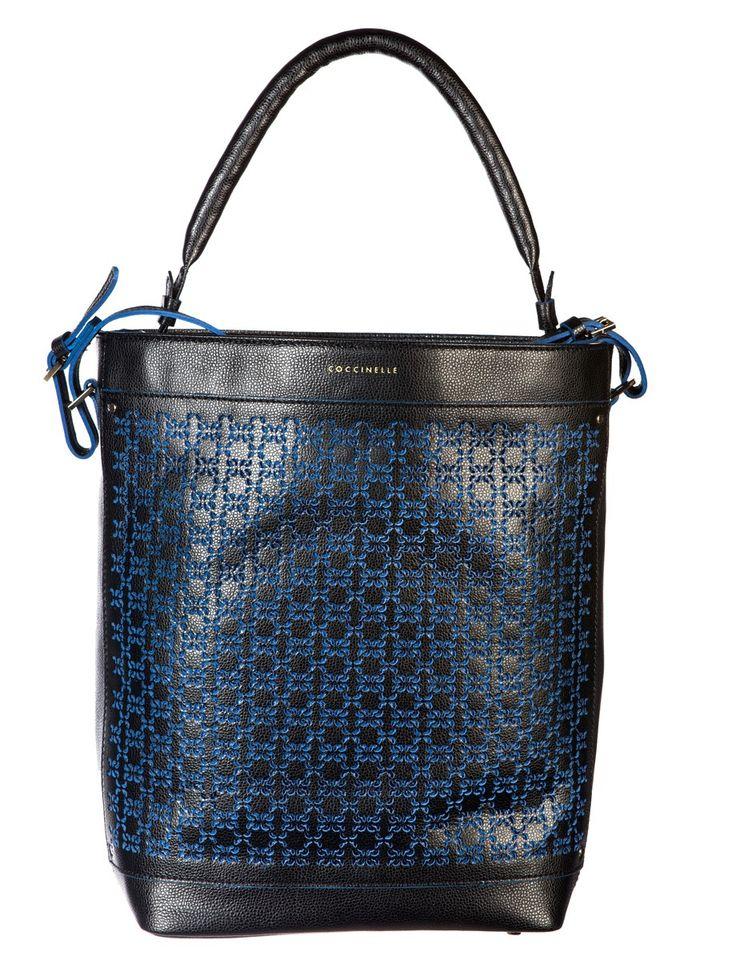 Coccinelle Black Vitello leather Laser cut Blue logo Bucket bag