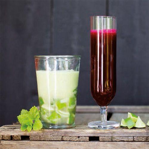 Apple Mojito Mocktail - Lime Wedges, Mint, Apple, Kiwi, Soda Water.  Beet Watermelon Sap Mocktail - Beets, Watermelon, Mint.