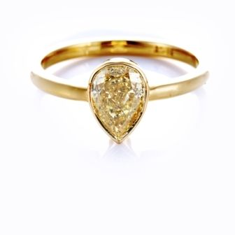 Yellow Diamond Pear Bezel Set Solitaire Ring in 18 ct Yellow Gold
