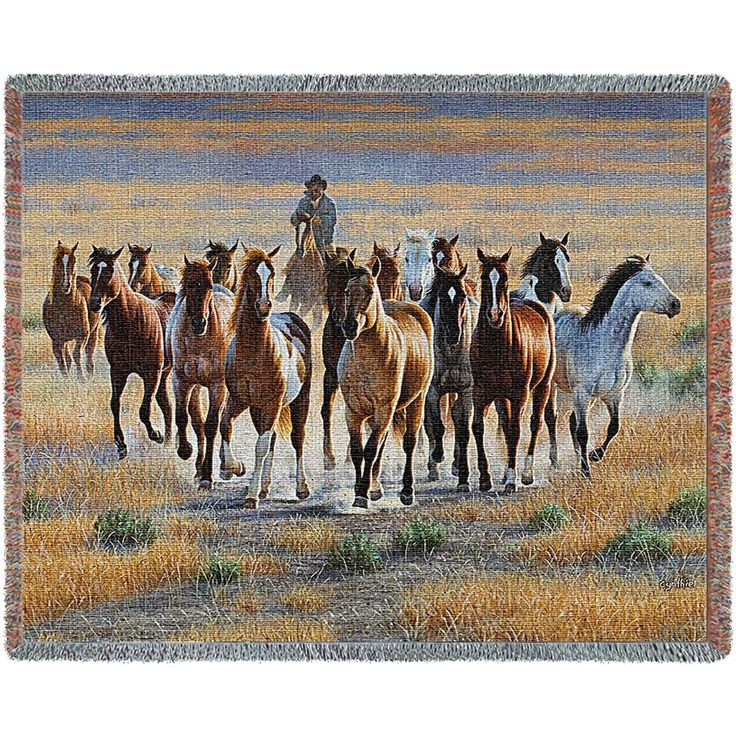 Cowboy Bringing In A Band Of Wild Horses Art Tapestry Throw