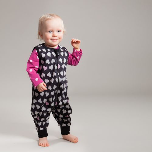 Sweetest Hearts Jumpsuit, Graphite. Made of our new jacquard knit with hearts design.