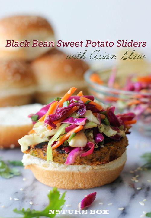 Black Bean Sweet Potato Sliders with Asian Slaw >> Vegetarian sliders made with black beans and sweet potatoes!