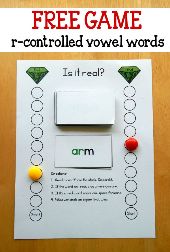 Free game for words with r controlled vowels