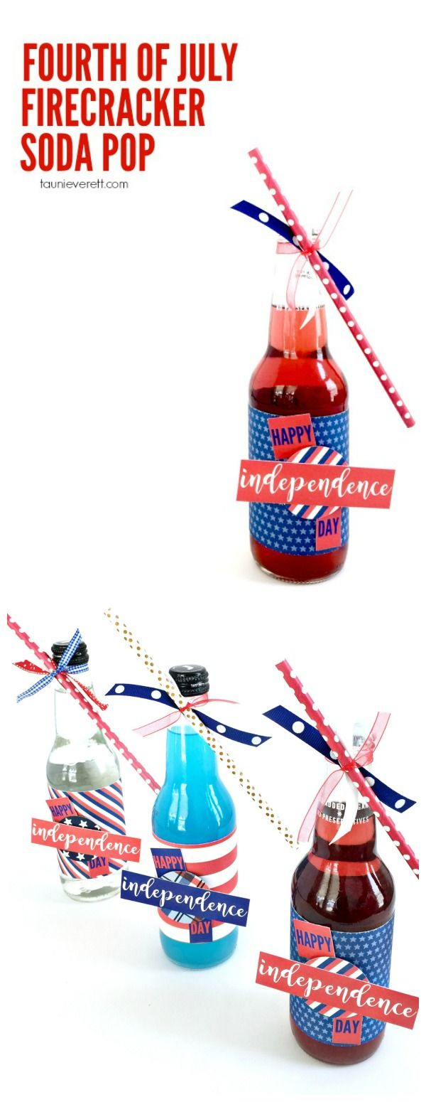 Fourth of July Firecracker Soda Pop. Simple to make party favor, big impact.