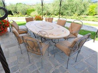 Oval stone garden table Stone Table 7 - Garden House Lazzerini