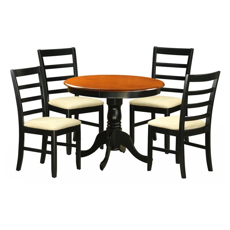 round dining table set with parfait microfiber seat chairs anpf5