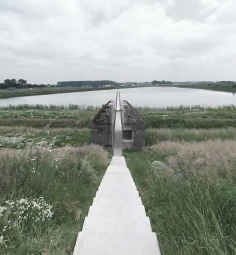 Movie shows concrete bunker cut in half by RAAAF and Atelier de Lyon