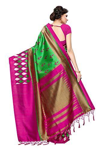 c3049fd9a81 Art Decor Sarees Women s Mysore Silk Printed Saree with Tassels Border