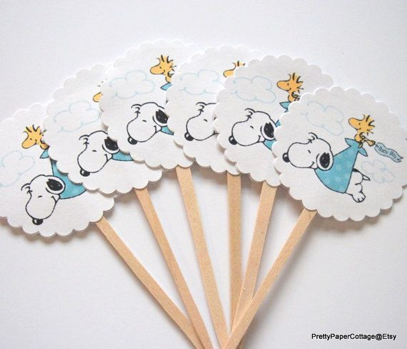 Snoopy Baby Shower Cupcake Toppers Baby Boy by PrettyPaperCottage