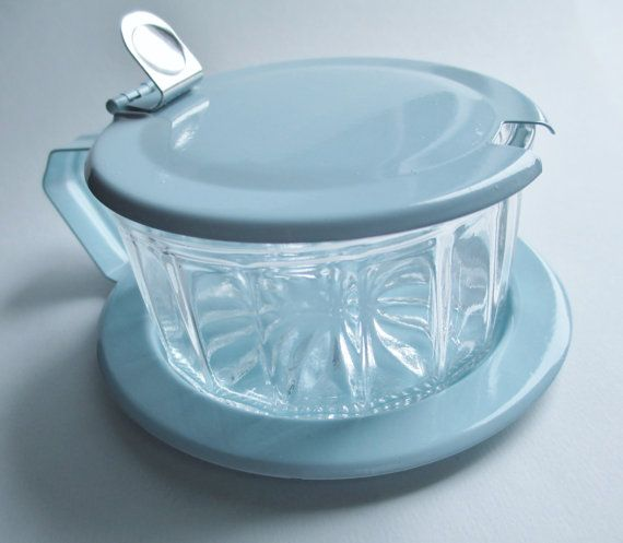 Pressed glass sugar condiment bowl dish with metal saucer