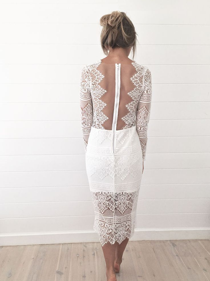 White, lace, sheer dress for engagement party or rehearsal dinner