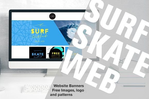 Surf Skate Website Banners by LW Creative on @creativemarket