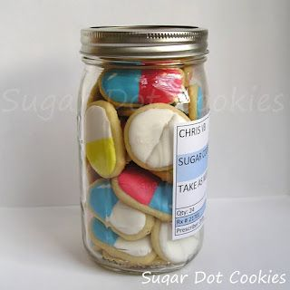 Sugar Dot Cookies: Get Well Soon Sugar Cookies - fill up a jar with pill shaped cookies & add a label with the directions to take one with some milk. Gorgeous idea :)