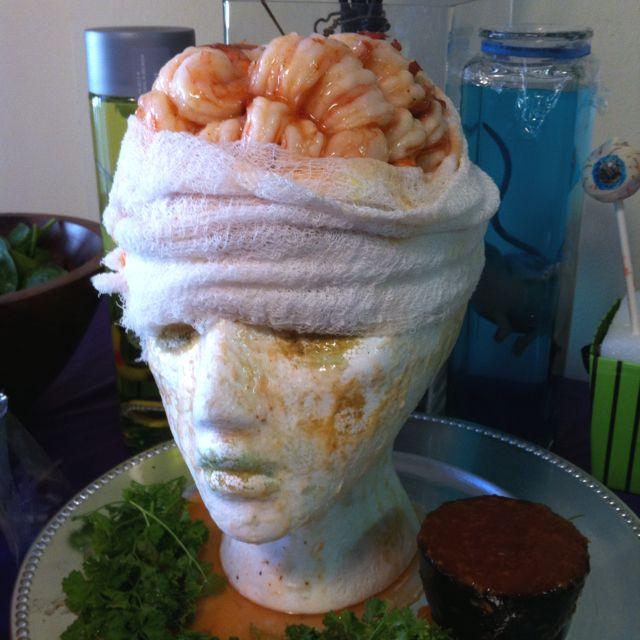 """Shrimp Cocktail """"brain"""" for a Mad Scientist theme birthday or halloween party. Recipe from Martha Stewart."""