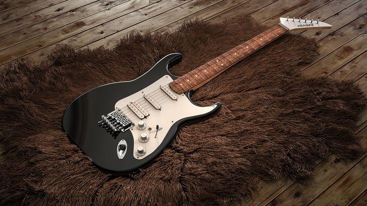 Fender Stratocaster guitar on rug, rendered in KeyShot by Magnus Skogsfjord. Modeled in NX by Isak Nordal. Rug from Turbosquid.
