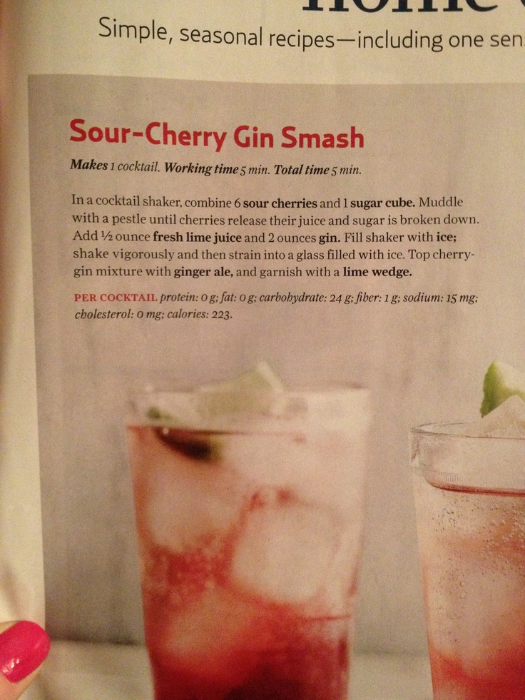 Sour cherry gin smash | Things I'd Love to Eat | Pinterest