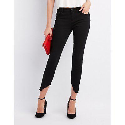 Black Frayed Hem Skinny Jeans - Size 11