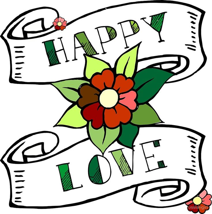 Happy love. Oldschool script, lettering, print with flower and roll of paper by russiangirl