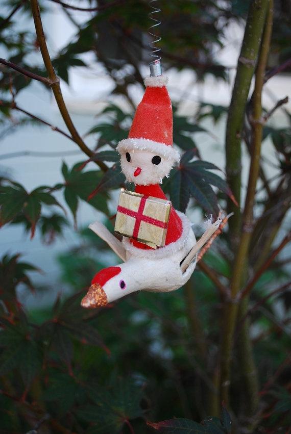 Vintage paper mache chenille and spun cotton santa flying for Paper mache christmas