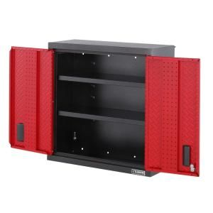Gladiator Premier Series Pre-Assembled 30 in. H x 30 in. W x 12 in. D Steel 2-Door Garage Wall Cabinet in Racing Red Tread GAWG302DDR at The Home Depot - Mobile