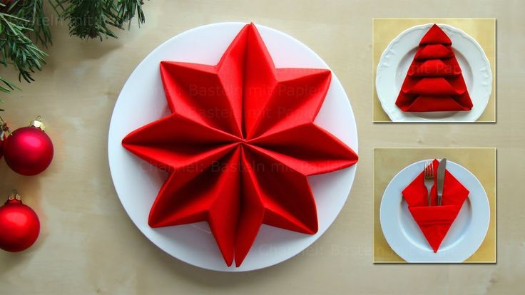 Napkin folding for christmas: Star, Christmas Tree, Pocket - 3 different techniques - DIY - YouTube