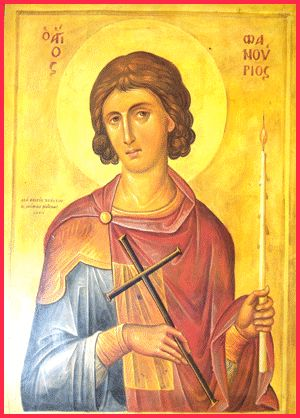 "St. Fanourios, Greek Orthodox Saint that intercedes for us when we lose things. His name is from the Greek word fanerono which means ""I Reveal"". <3"