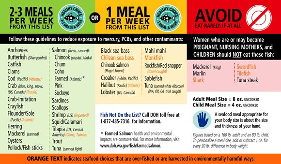 great chart on what fish to eat to reduce exposure to mercury and other contaminants