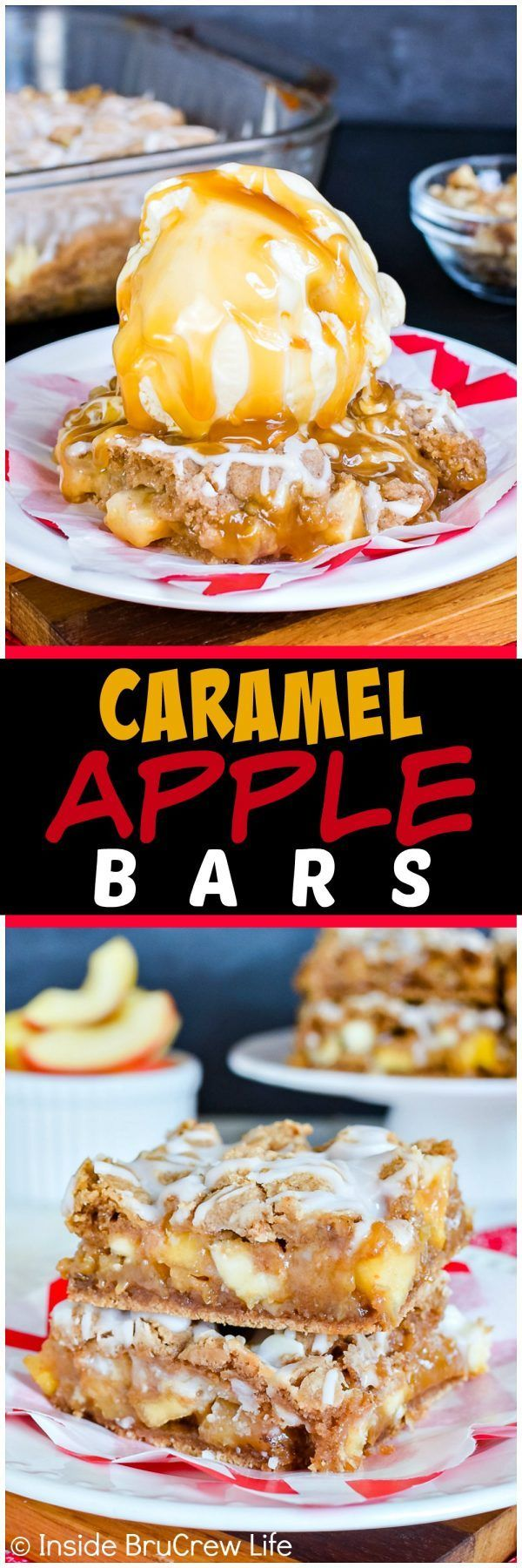 Caramel Apple Bars - this gooey bar recipe is loaded with apples, walnuts, and caramel. Add vanilla ice cream to make an awesome fall dessert! #apple #fall #dessert