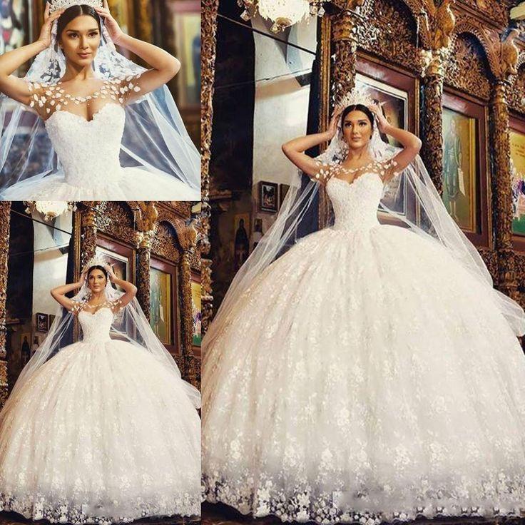 Said Mhamad 2017 New Ball Gowns Wedding Dresses Sheer Jewel Neck Tiers Tulle Arabic Vestido De Novia Charming Bridal Gowns Custom Tea Length Wedding Dresses Wedding Dress Designers From Factory Sale, $201.81  DHgate.Com