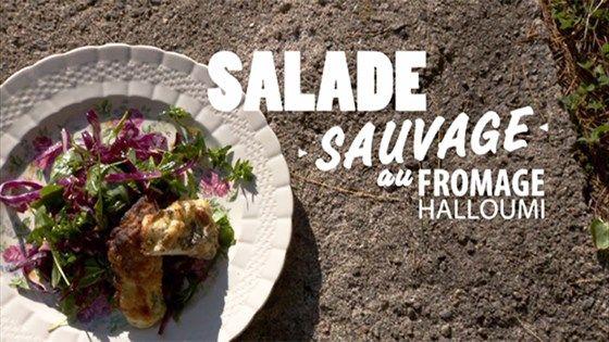 Salade de chou rouge et fromage halloumi grillé