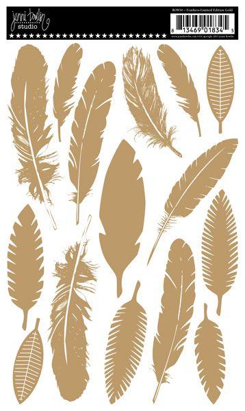 Jenni Bowlin Studio - Rub Ons - Feathers - Limited Edition Gold at Scrapbook.com