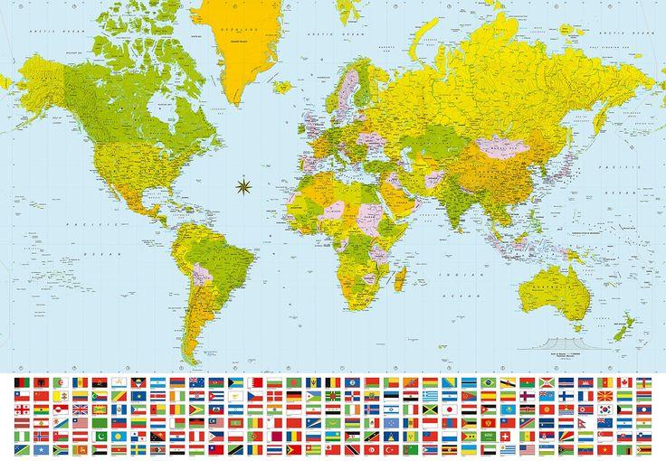 Wereldkaart fotobehang XL incl vlaggen. Afmeting: 366 cm breed x 254 cm hoog Materiaal: speciaal papier Lijm advies: behang insmeren, lijm wordt gratis meegeleverd Delen: 8 stuks Prijs 59,95