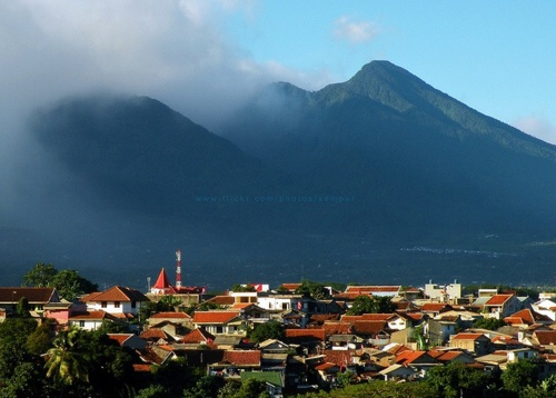 Mount Salak viewed from city of Bogor, West Java, Indonesia.