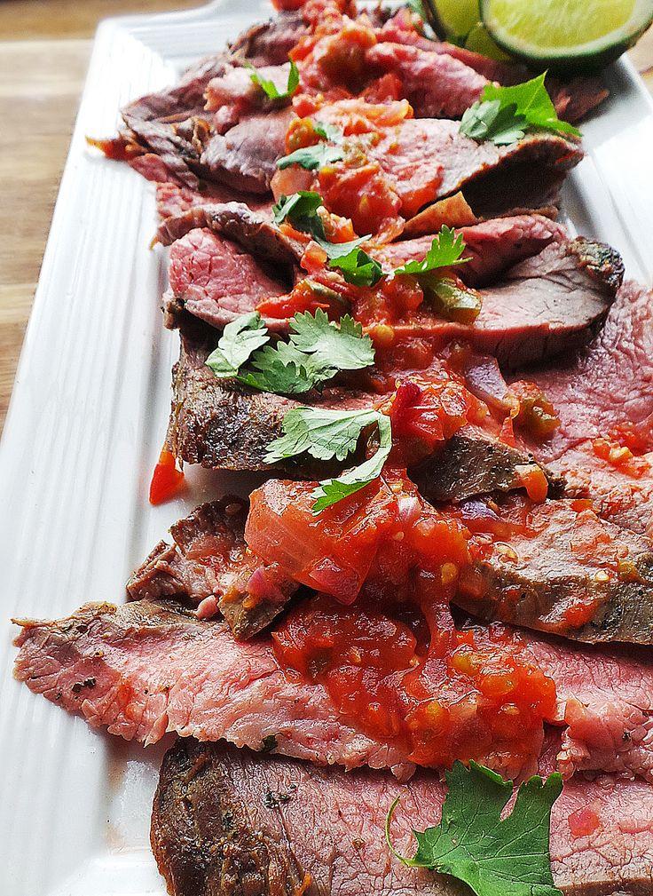 Grilled Carne Asada w. Smoky Salsa | Recipe | Carne Asada and Salsa