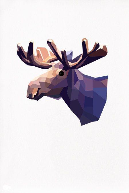 Geometric illustration Moose head Animal by TinyKiwiCreations