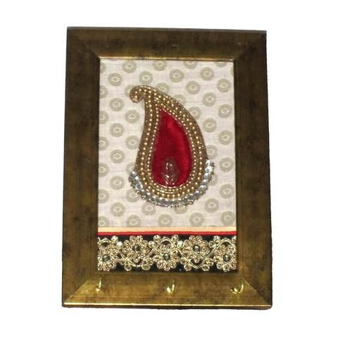 Red Ambi Motif Key Holder with  3 Hook - FOLKBRIDGE.COM | Buy Gifts. Indian Handicrafts. Home Decorations.