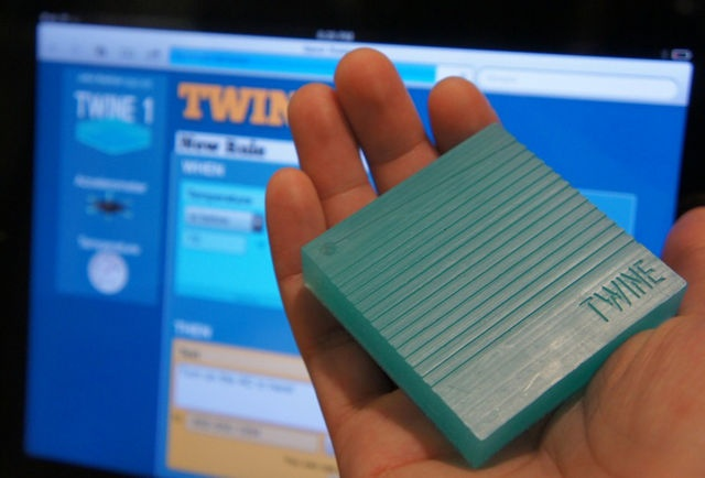 Twine, a WiFi-enabled, handheld, soap-size block that uses internal/ external sensors (temperature, vibration, moisture, etc.) and a no-programming-required Web app to let random stuff around your apartment send out texts, emails, and Tweets, simply by attaching it and inputting basic rules. Sick alert system