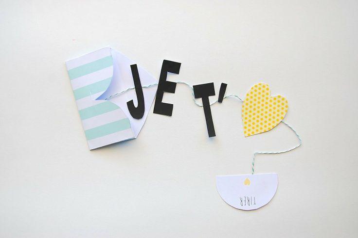 DIY - petite carte à réaliser soit-même pour dire ❤ ❤ ❤ JE T'AIME ❤ ❤ ❤ de façon originale by Pöm