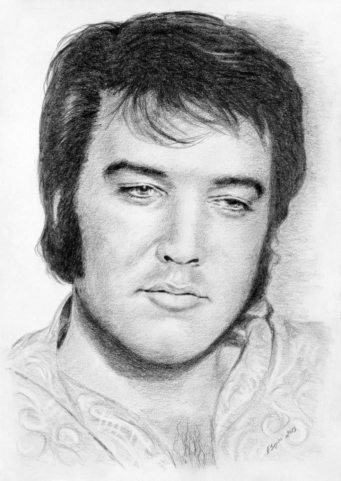 ELVIS art: Beautiful pencil drawing of 1970 Elvis by © Ewa Stepien | See more of her Elvis drawings on: https://www.facebook.com/ewa.stepien.7146/media_set?set=a.1818497305044811.100006536762949&type=3