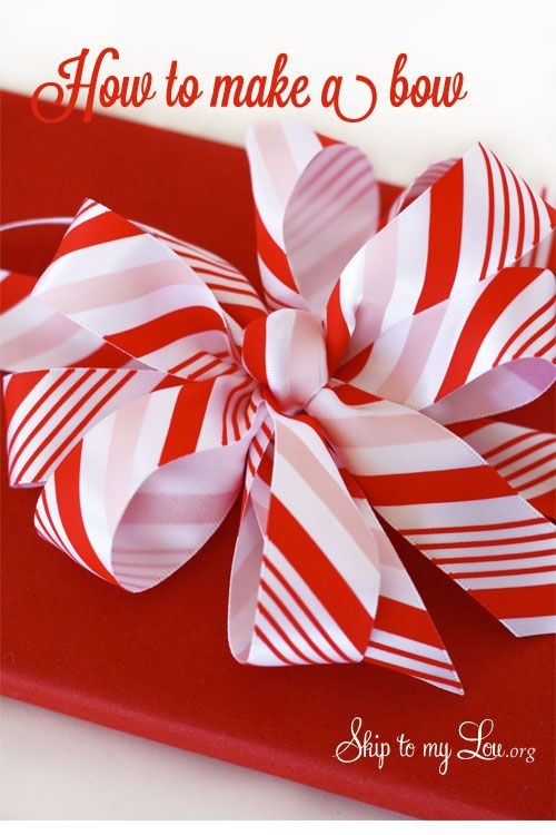 Make a bow {Martha Stewart Avery Coupon}!!! Bebe'!!! Grand peppermint stick bow for Christmas!!! What 's more festive than peppermint!!!
