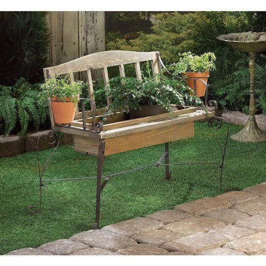 Rustic Iron Wood Bench FLOWER POT PLANTER Box