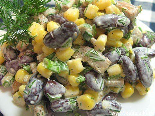 Салат из кукурузы и фасоли с сухариками | Школа вкуса  - вкусные кулинарные рецепты