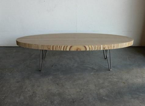 Eames Inspired Elliptical Coffee Table With Raw Steel Hairpin Legs Http Www
