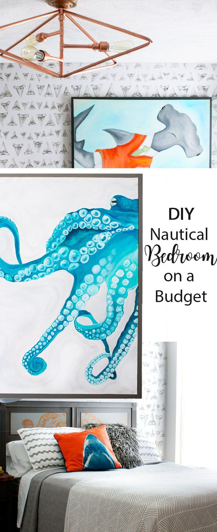Fabulous DIY Nautical shark theme bedroom makeover with lots of DIY ideas!  DIY Copper Pipe Ceiling light, DIY Copper Pipe Desk, DIY Furniture Makeover and DIY  hand painted wall and art.