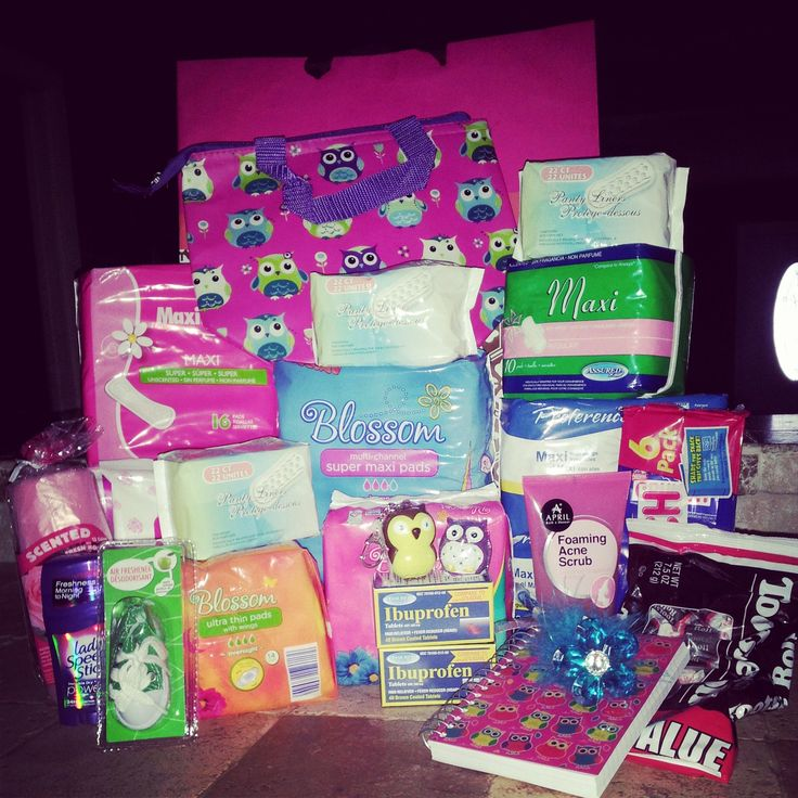 "Made a care package for when my daughters ""unexpected"" friend came!  Small bag or purse - to make a emergecny kit for her to carry with her 2-3 types of pads Panty liners Pain medication Small calendar A pen (Underwear, Pants, shorts, skit, or any other comfortable extra clothing) not pictured Hand sanitizer Wipes Chocolate FOR FUN... Acne Wash Deoderant Air Freshener  Lip Balm"
