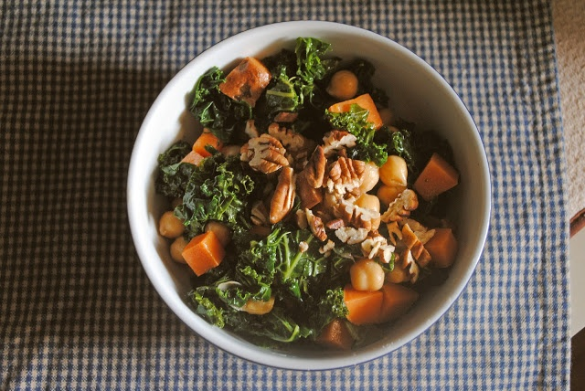 Make this sweet potato, kale, and chickpea salad with maple-soy vinaigrette and feel GOOD about your start to the week.