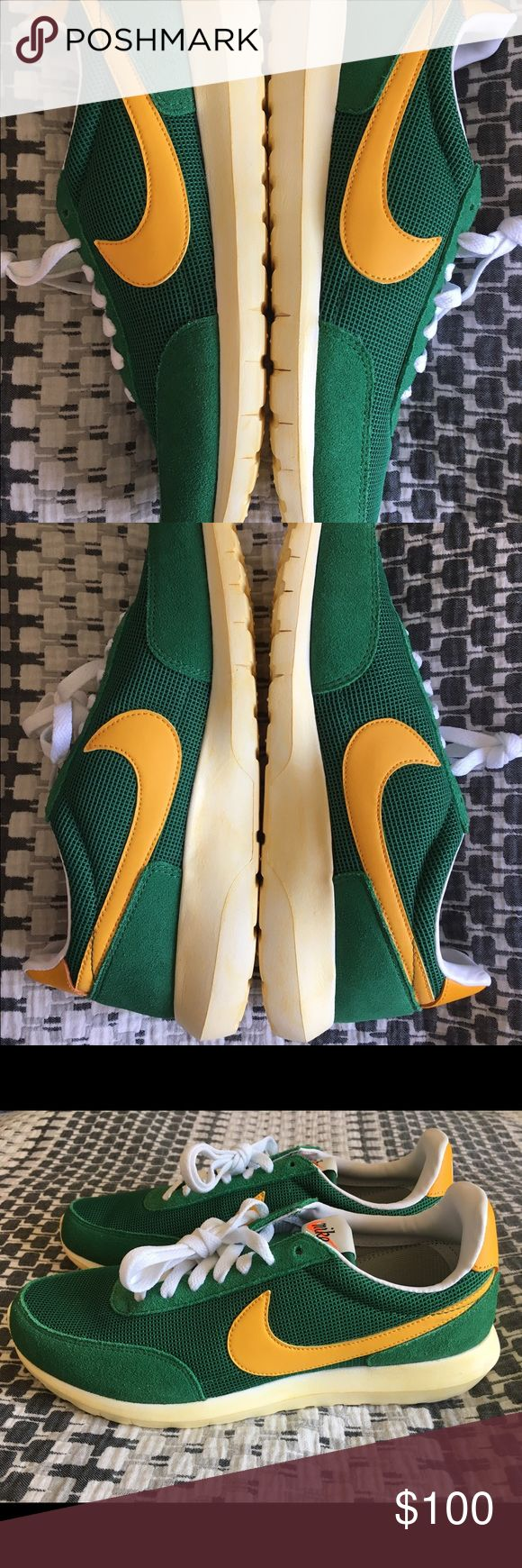 Nike Roshe DBREAK NM green/yellow size 9.5 New men's Nike Roshe DBREAK NM size 9.5 pine green/yellow/white comes with two shoelaces, green and white. I have original box but I don't have the top/cover to it. Original price $120 asking $100 or best offer. Nike Shoes Sneakers