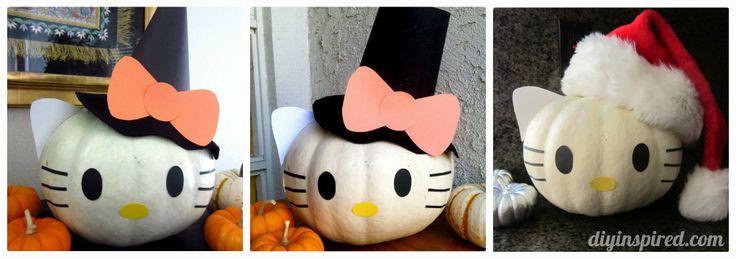 Hello Kitty Pumpkin- One pumpkin works for three holidays!