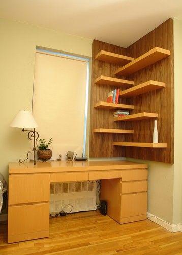 Beech Desk and Walnut Shelves - modern - home office - new york - CustomMade.com
