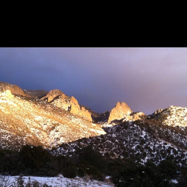 Sandia Mountains in the snow near Albuquerque New Mexico.